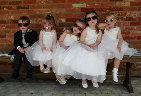 Kids at a Wedding with sunglasses